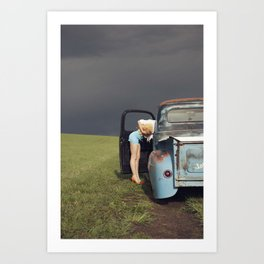 Women, Weather, and A Vintage Truck Art Print