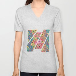 Colorful Mosaic Fantasy Zinnias Unisex V-Neck