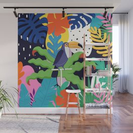 Bold Tropical Jungle Abstraction With Toucan Memphis Style Wall Mural