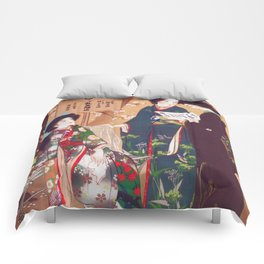 Vintage Oriental Kimono Shop Ad Comforters
