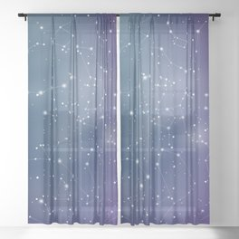 Zodiac Signs Constellations Gradient Shine Sheer Curtain