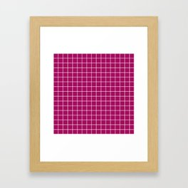 Jazzberry jam - violet color -  White Lines Grid Pattern Framed Art Print