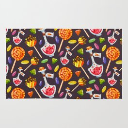 Watercolor Halloween Candy Pattern Rug