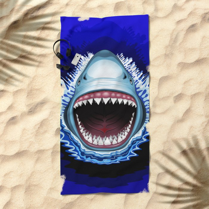 Shark Jaws Attack Beach Towel