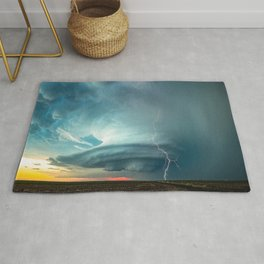A Memorable Evening - Supercell Storm and Lightning at Sunset in Kansas Rug