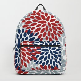 Floral Dahlia Print, Red, Navy, Blue, Gray Backpack
