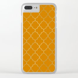 Turmeric Yellow & Gold Quatrefoil Clear iPhone Case