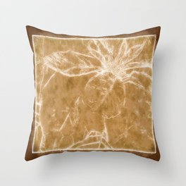 Mottled Red Poinsettia 1 Ephemeral Outlined Brown Throw Pillow