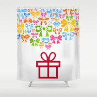 gift card Shower Curtains featuring Gift by aleksander1