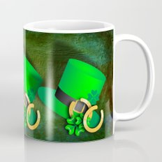 Symbols of luck on green textured background Mug
