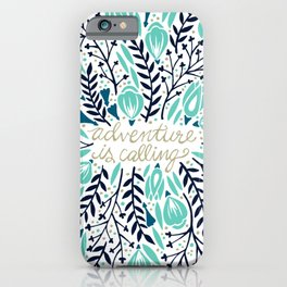 Adventure is Calling – Navy & Mint Palette iPhone Case