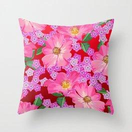 tossed flower garden Throw Pillow