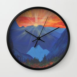 Forest Sunset Over Blue Mountains Wall Clock