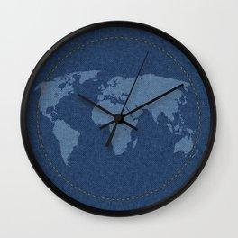 Denim Map Wall Clock
