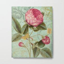 Victorian Rose & French Ephemera Art Print - Vintage Rose Collage Wall Art Metal Print