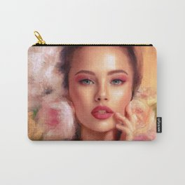 Woman with Pink and Peach Roses Impressionist Painting Carry-All Pouch