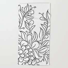Floral Black and White Art Beach Towel