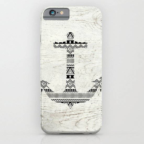 Aztec Nautical Anchor Black White Vintage Wood iPhone & iPod Case