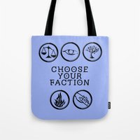 divergent Tote Bags featuring Divergent - Choose your faction by Lunil