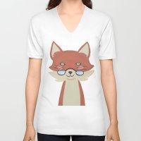 mr fox V-neck T-shirts featuring Mr. Fox by Kelly Rae Bahr