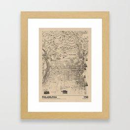 Philadelphia 1796 - Old  Vintage USA Map Framed Art Print