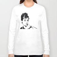audrey hepburn Long Sleeve T-shirts featuring audrey hepburn by gazonula