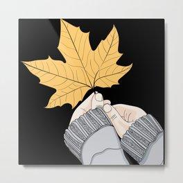 Wall art girls hand holding a leaf Metal Print