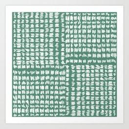 Scribble Checkers Pattern Dark Green Evergreen Art Print
