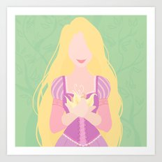 Minimalist princess series: Rapunzel Art Print