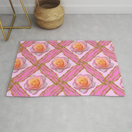 CREAMY  ROSES & RAMBLING THORNY CANES ON  PINK  DIAGONAL PATTERNS Rug