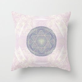 Mandala Pattern in Pastel Pink and Lilac Throw Pillow
