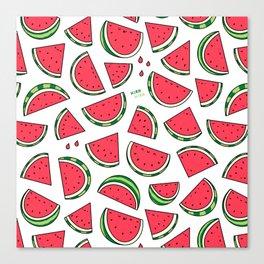 Watermelon World! Kawaii Watermelon Doodle Canvas Print