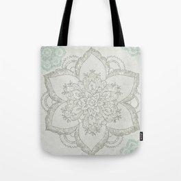 Boho Glam Mandala Silver Aqua Tote Bag