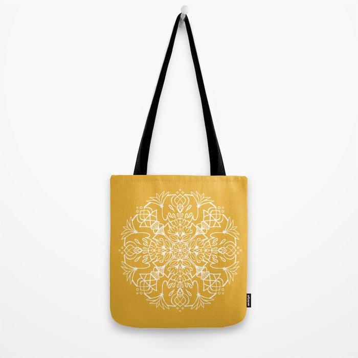Lotus Mandala - Sunny Yellow Tote Bag