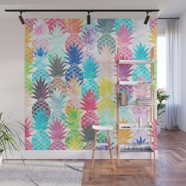 Hawaiian Pineapple Pattern Tropical Watercolor Wall Mural