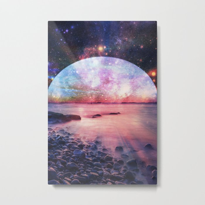 Mystic Lake : Fantasy Moon Landscape Metal Print