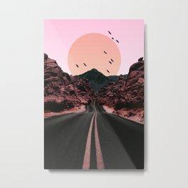 Birds Sun Road Metal Print