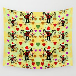 Santa with friends and season love Wall Tapestry
