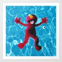 elmo Art Prints featuring Elmo by DandyBerlin