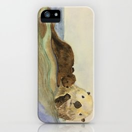 Mama and baby otters iPhone Case