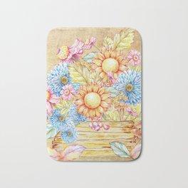 October  Floral Basket Watercolor Bath Mat