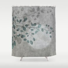 Pale moon mixed media illustration Shower Curtain