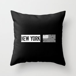 Black & White U.S. Flag: New York Throw Pillow