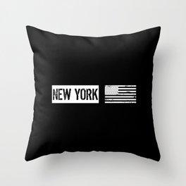 Black & White U.S. Flag: New York Throw Pillow