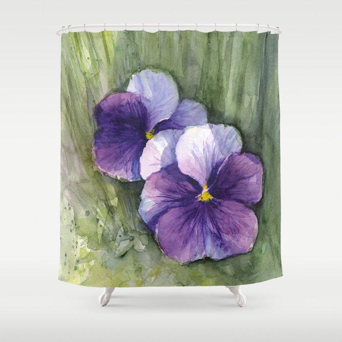Purple Pansies Watercolor Flowers Painting Violet Floral Art ...