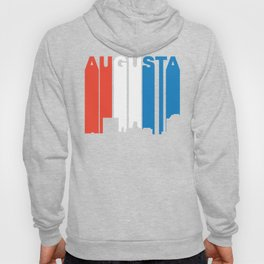 Red White And Blue Augusta Georgia Skyline Hoody