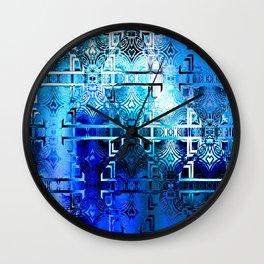 1001 Lights Pattern (azure-lapis-sky) Wall Clock
