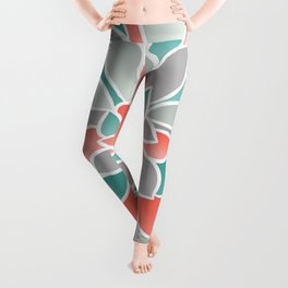 Floral Prints, Coral, Teal and Gray, Art for Walls Leggings