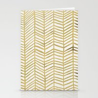 light Stationery Cards featuring Gold Herringbone by Cat Coquillette
