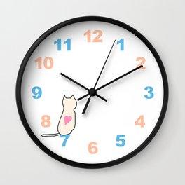 Numbers Clock Wall Pastel Cat Wall Clock